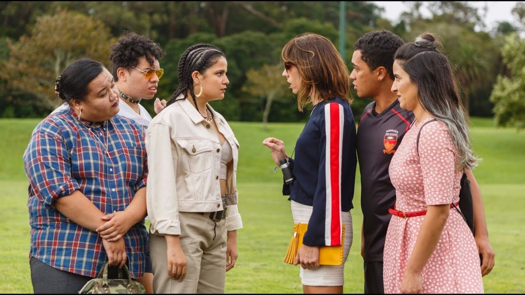 Mel (Madeleine Sami), Jen (Jackie van Beek) and Jordan (James Rolleston) confront Sepa (Ana Scotney) and her crew.