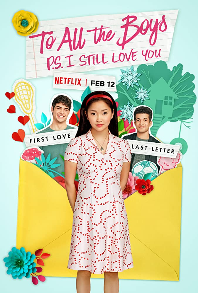 The film poster showing Lara Jean (Lana Condor) standing in front of a huge envelope with Peter (Noah Centineo) and John Ambrose (Jordan Fisher) sticking out of it.
