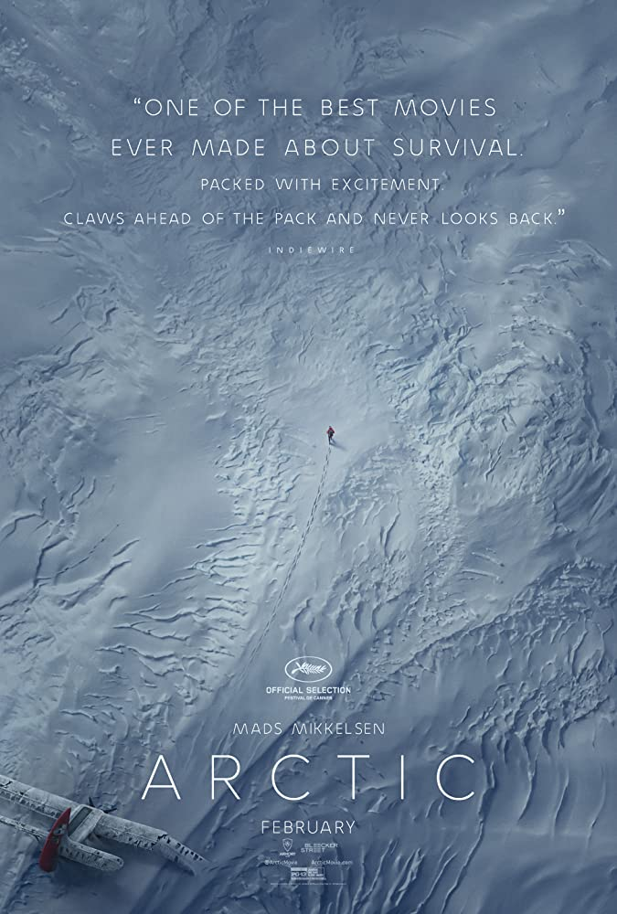 The film poster showing a snowy landscape from above, empty except for a broken plane and a lonely human figure walking away from it.