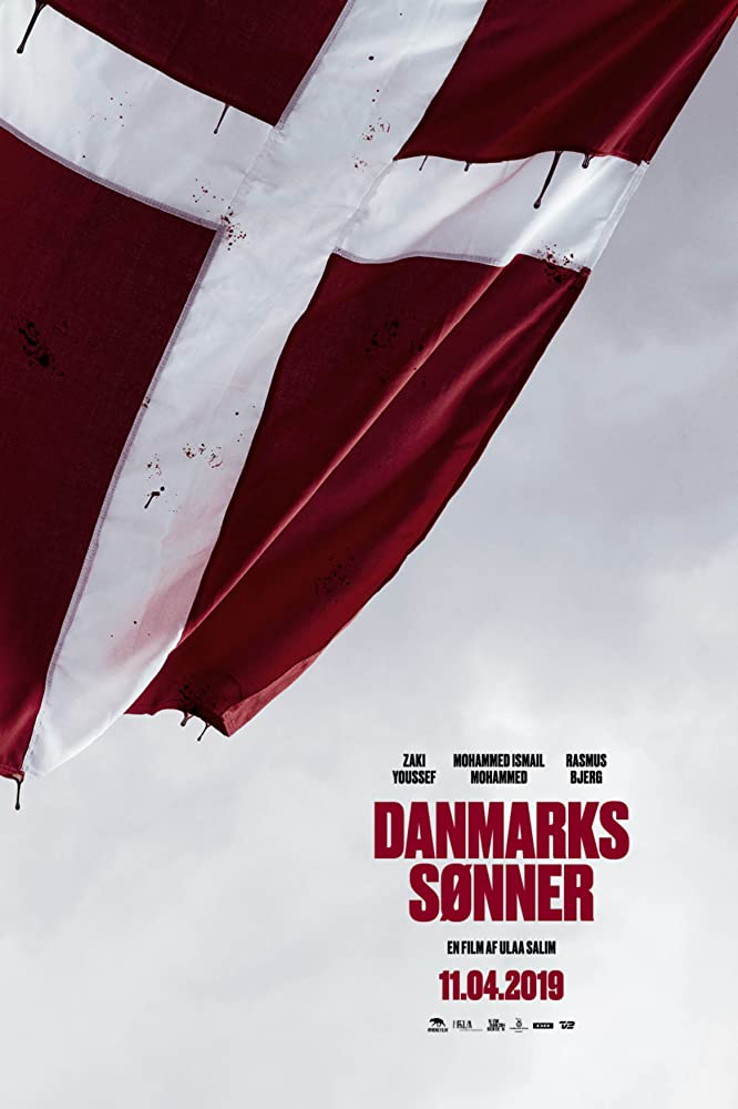 The film poster showing the Danish flag with blood dripping from its red parts.