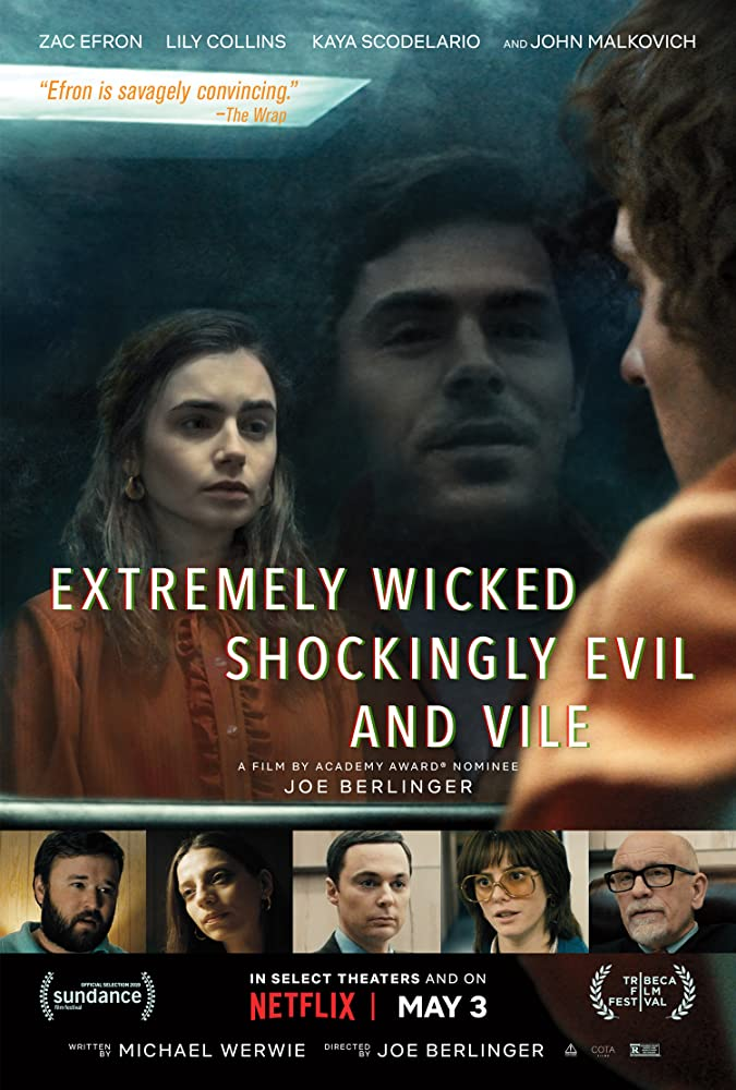 The film poster showing Ted Bundy (Zac Efron) looking at Liz Kendall (Lily Collins) through the security class in a prison visitors' center.