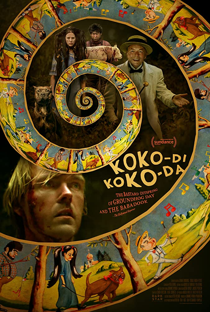 The film poster showing the film's characters and a spiral with colorful drawings.