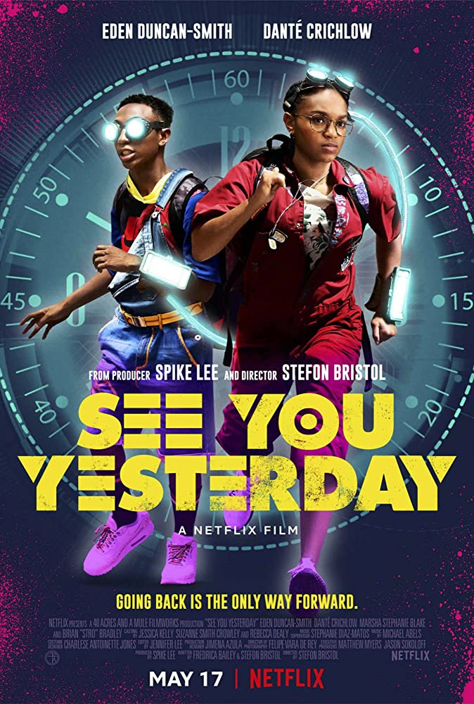 The film poster showing CJ (Eden Duncan-Smith) and Sebastian (Danté Crichlow) with goggles and gadgets, running in front of a giant clock.