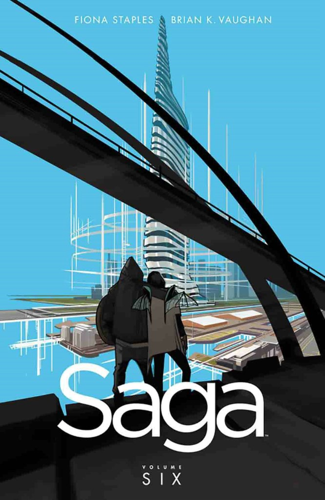 The book cover showing a couple - Marko and Alana - leaning against each other looking at a skyscraper.