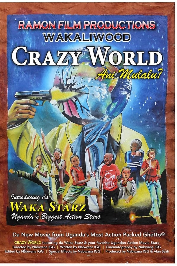 The film poster showing a drawing of planet earth in a trench coat holding a gun to its head; and a bunch of kids in karate poses.