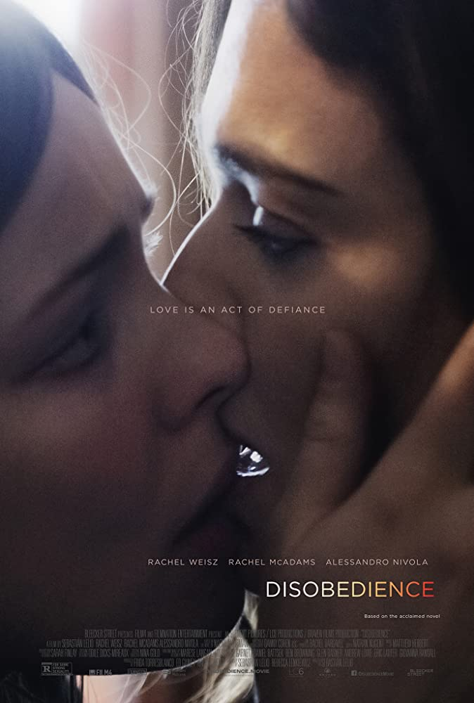 The film poster showing Esti (Rachel McAdams) and Ronit (Rachel Weisz) kissing.