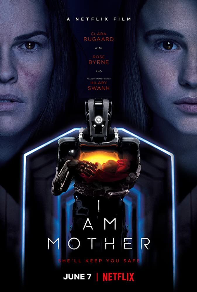 The film poster showing a robot carrying a baby and the faces of the Woman (Hilary Swank) and the Daughter (Clara Rugaard).