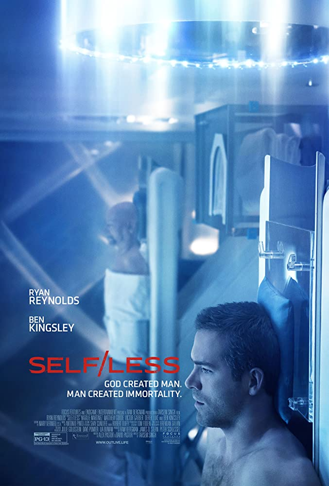 The film poster showing older Damian (Ben Kingsley) and younger Damian (Ryan Reynolds) lying on slabs in front of medical machinery.