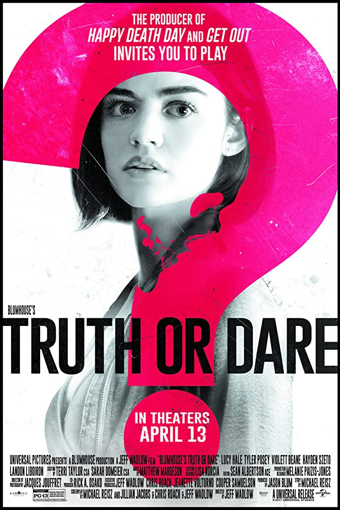 The film poster showing Olivia (Lucy Hale) in black and white with a big pink question mark superimposed.