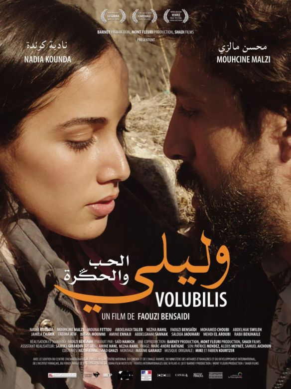 The film poster showing Malika (Nadia Kounda) and Abdelkader (Mouhcine Malzi) leaning close together.