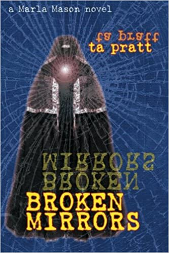 The book cover showing a dark figure in a cloak in front of a blue background with a spider-web pattern like broken glass over it.