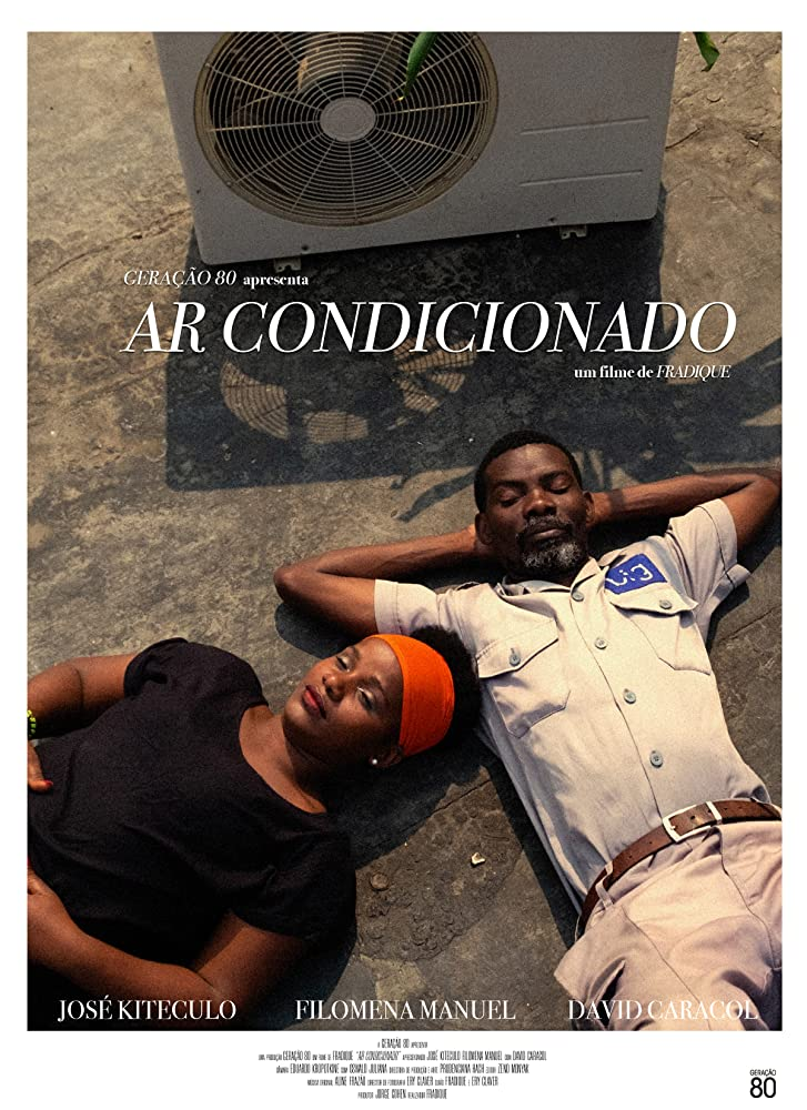 The film poster showing Zézinha (Filomena Manuel) and Matacedo (José Kiteculo) lying next to an air conditioner.