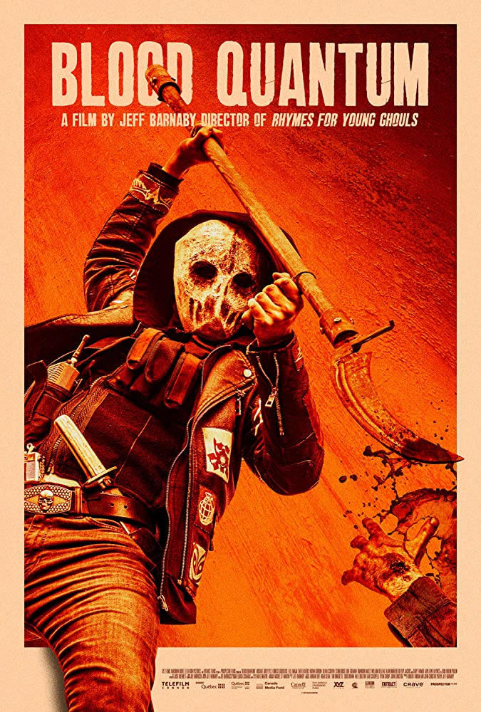 The film poster showing a masked and armed figure swinging a bloody scythe.