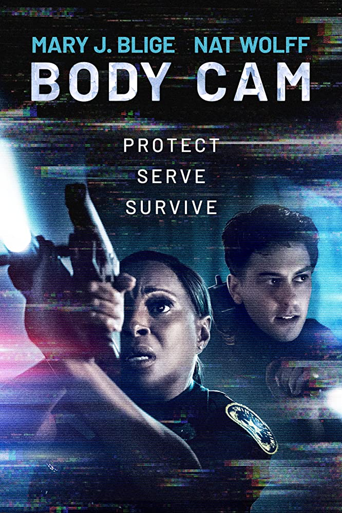 The film poster showing Renee (Mary J. Blige) and Danny (Nat Wolff) in police uniforms.
