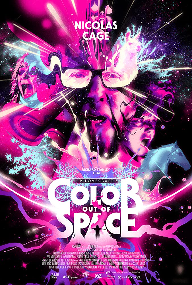 The film poster showing a purple-pink psychedelic splash of colors with faces and some animals emerging.