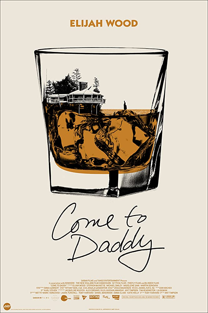 The film poster showing the drawing of a glass of whiskey with two ice cubes. the top of the ice cubes are the cliffs in a lake with a house overlooking it.