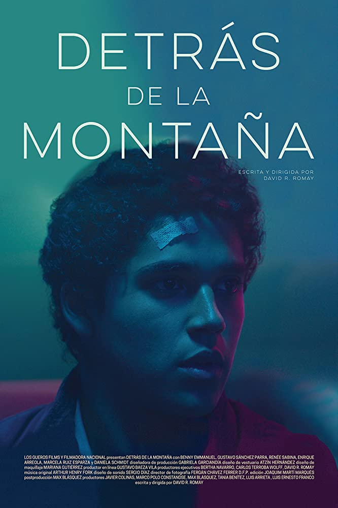 The film poster showing Miguel (Benny Emmanuel) with a bandaid on his forehead in blue-green-pink lighting.