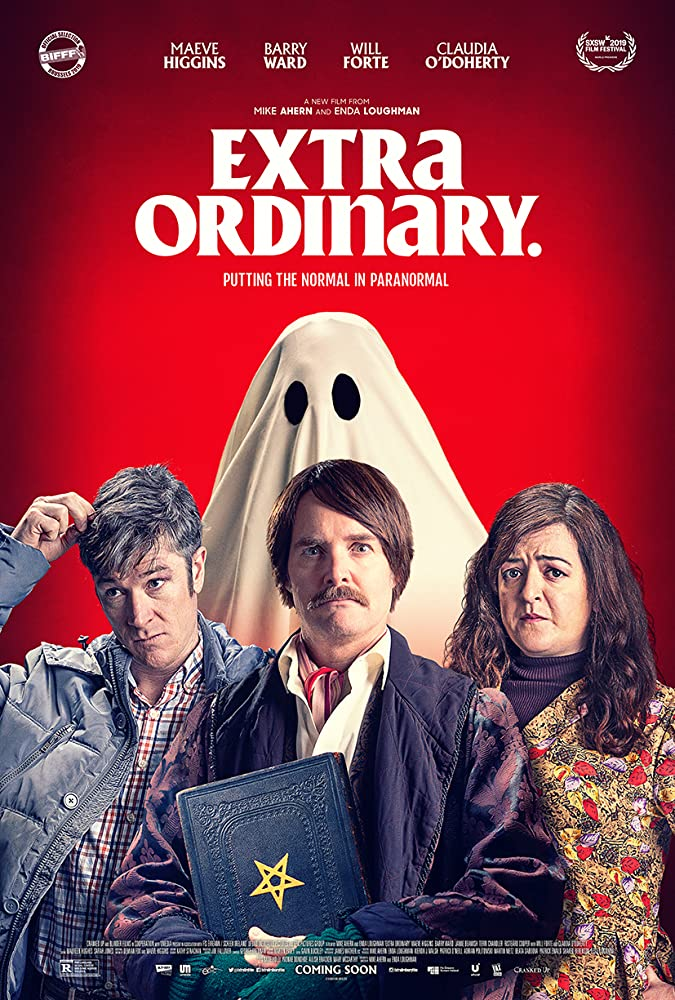 the film poster showing Martin (Barry Ward), Christian (Will Forte) and Rose (Maeve Hggins) standing in front of a ghost that looks like a blanket with eyes.