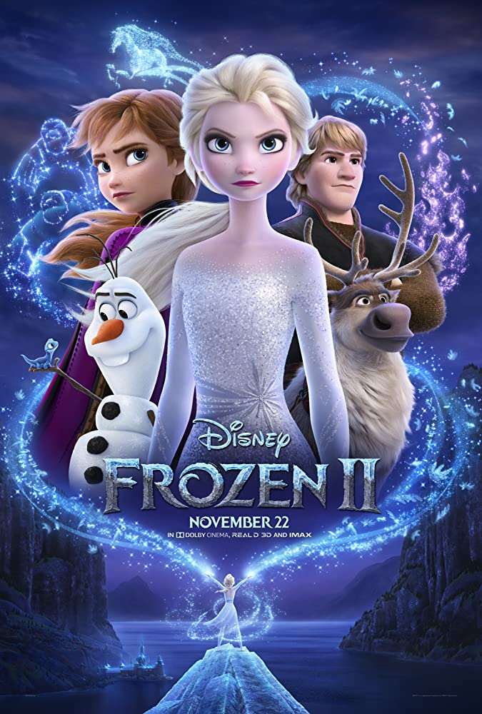 The film poster showing the main characters and smaller Elsa doing some ice magic.