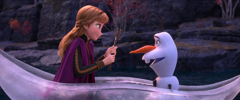Anna and Olaf in a canoo made of ice.