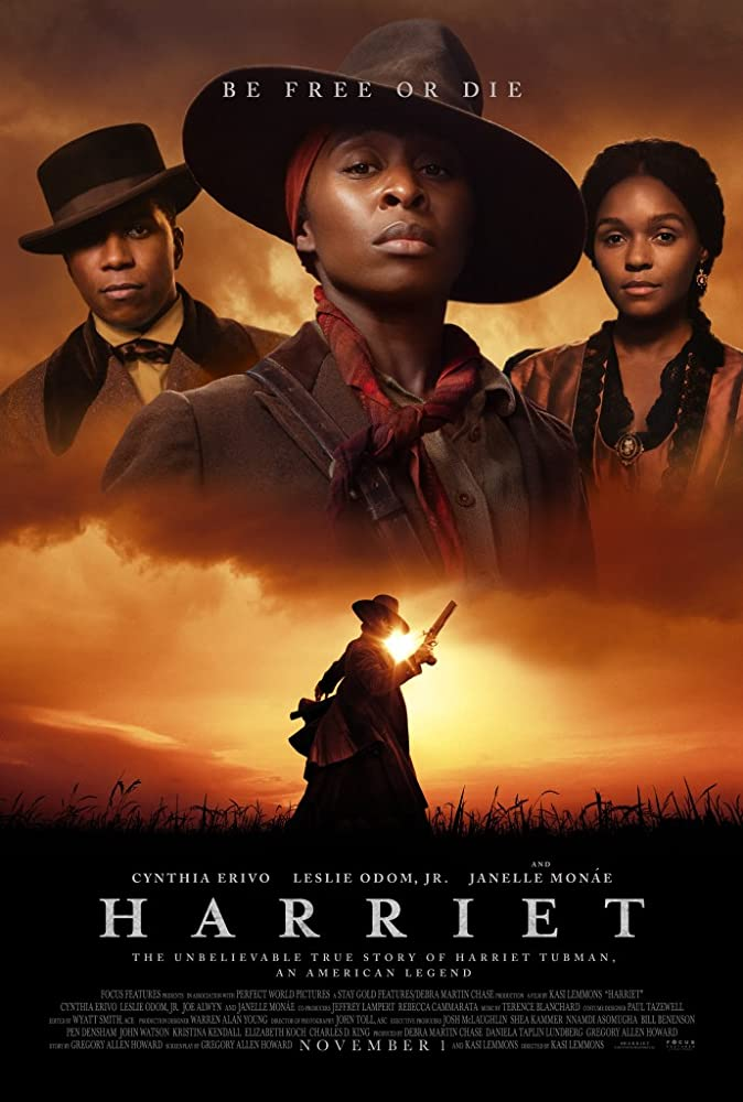 The film poster showing William Still (Leslie Odom Jr.), Harriet Tubman (Cynthia Erivo) and Mary Buchanon (Janelle Monáe) above the silhouette of Harriet walking through a field with her gun raised.