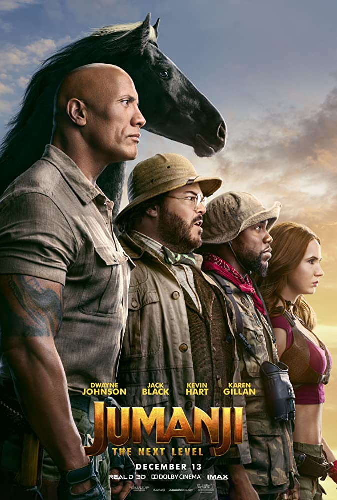 The film poster showing Bravestone (Dwayne Johnson), Oberon (Jack Black), Mouse (Kevin Hart) and Ruby (Karen Gillan) standing with a black  horse at their backs