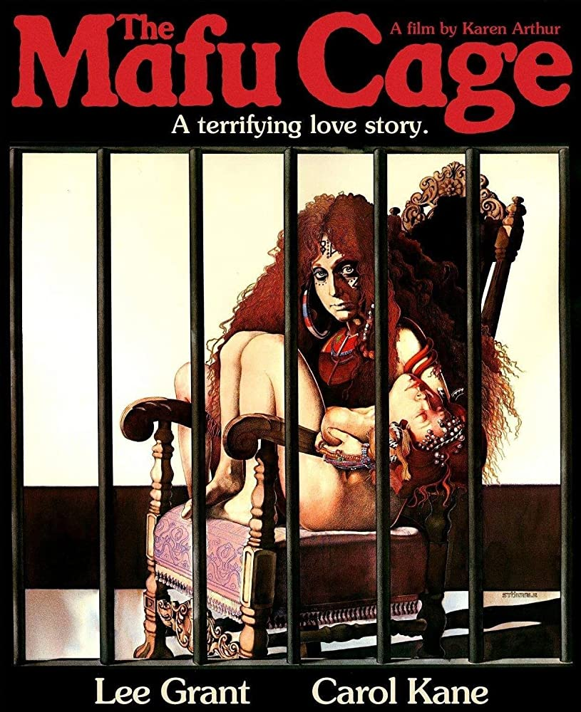 The film poster showing a drawing of Cissy (Carol Kane) sitting naked on a chait inside a cage.