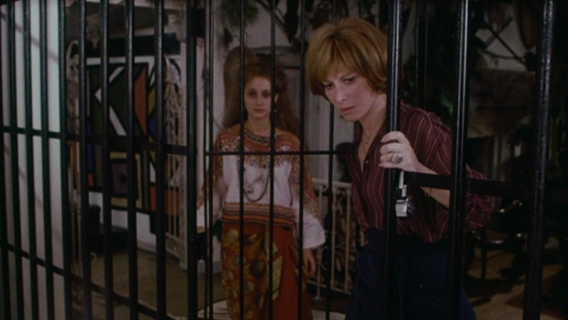 Cissy (Carol Kane) and Ellen (Lee Grant) looking inside the cage.
