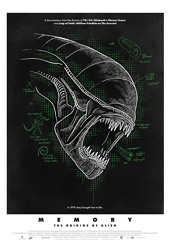 The film poster showing a drawing of the Alien's head with a few annotations.