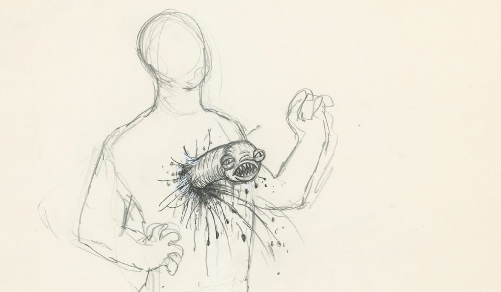 A sketch of the famous chestburster scene showing a human figure with an alien coming out of its chest.