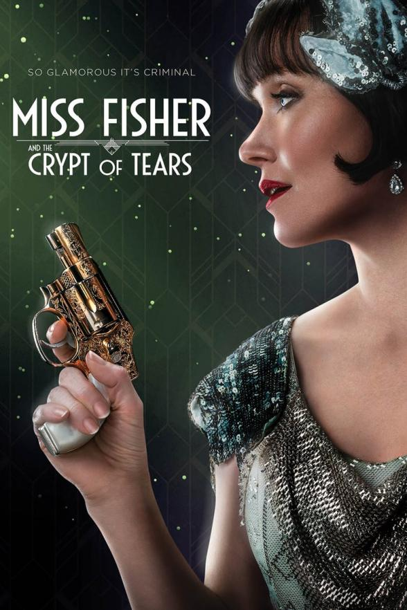 The film poster showing Phryne Fisher (Essie Davis) holding a gun.