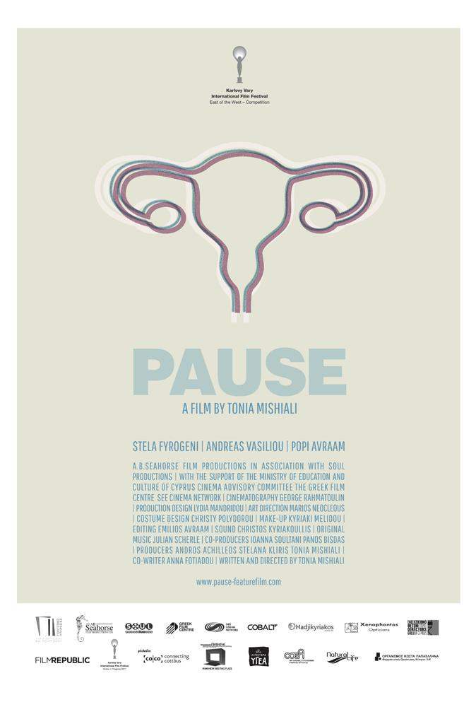 The film poster showing a drawing of a uterus and fallopian tubes.