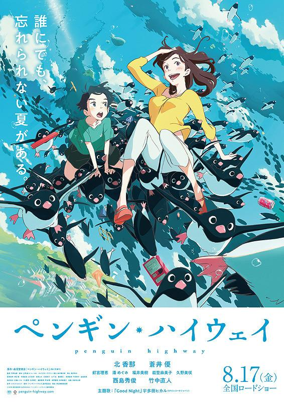 The film poster showing Onê-san and Aoyama-kun flying on the backs of many, many penguins.