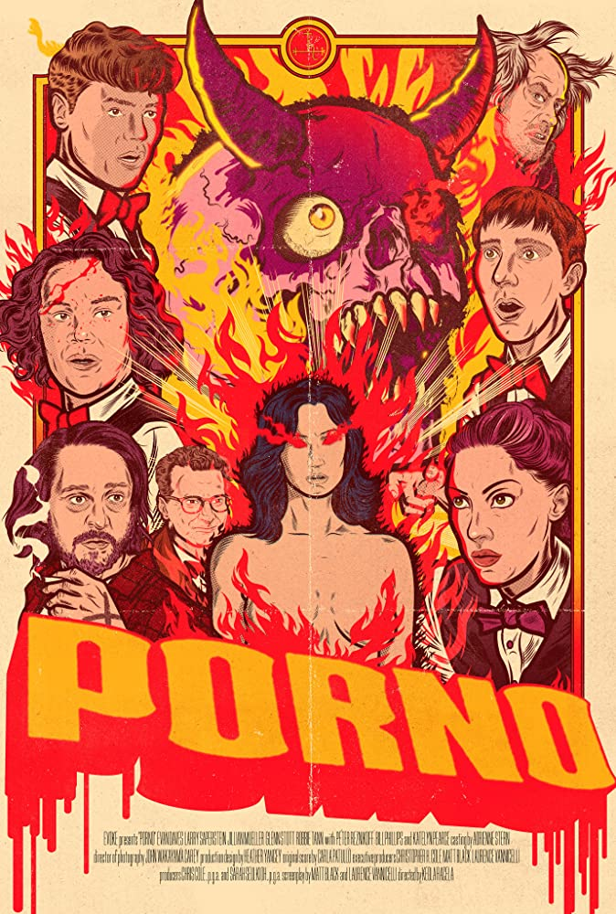 The film poster showing a drawing of a horned skull surrounded by portraits of the main characters.
