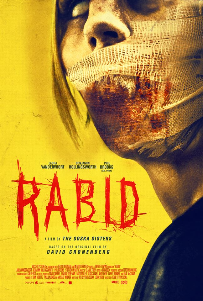 The film poster showing Rose (Laura Vandervoort), her face covered in bandages,