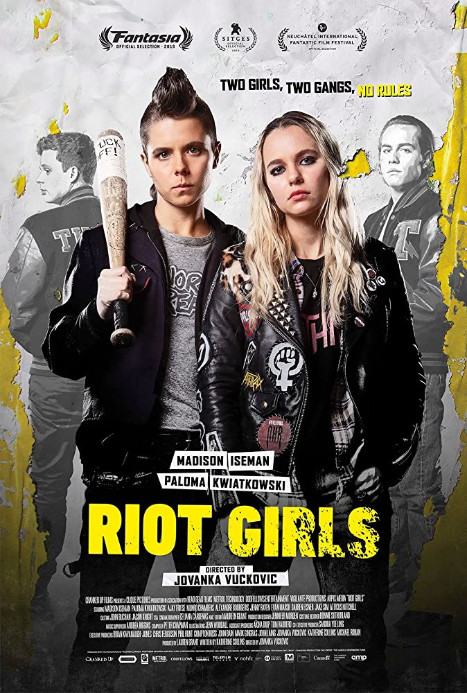 "The film poster showing Scratch (Paloma Kwiatkowski) and Nat (Madison Iseman) in punk gear. Scratch is carrying a baseball bat with the words ""Fuck off"" written on it. Behind them in pale black and white we can see two guys in athlete jackets."