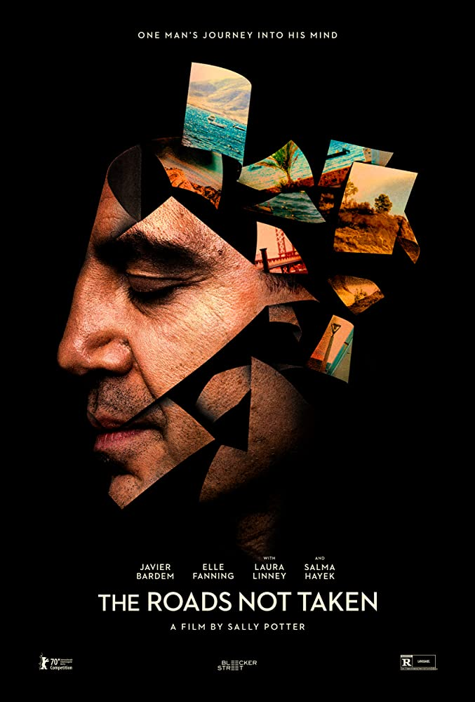The film poster showing Leo's (Javier Bardem) head dissolving into photos.