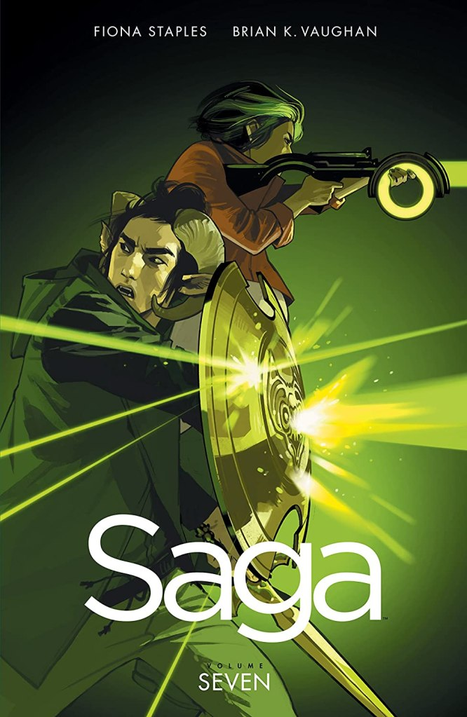The cover showing Marko defending himself from gunfire with a shield and Alana shooting back.
