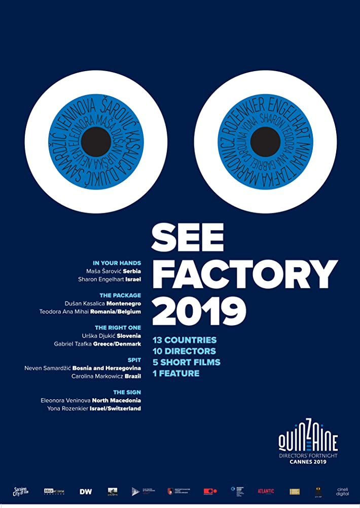 The film poster showing cartoonish eyes on a blue background. The directors' names are written in the irises.