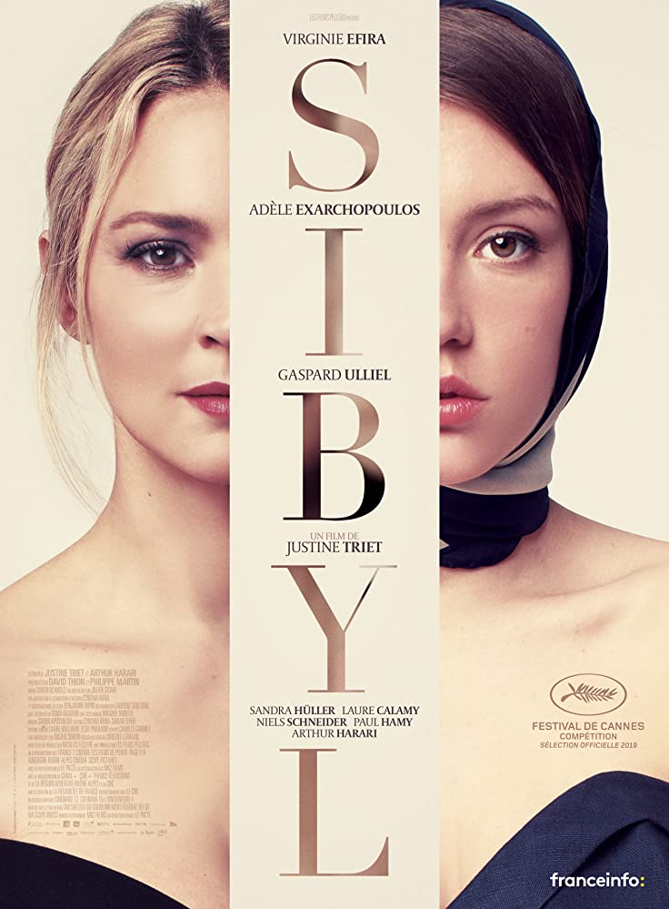 The film poster showing half of Sibyl's (Virginie Efira) and half of Margot's (Adèle Exarchopoulos) face.