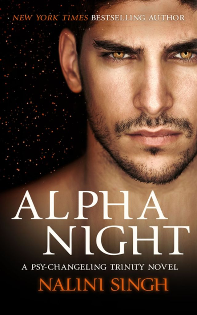 The book cover showing the face of a man with amber eyes in front of a night sky full of stars.