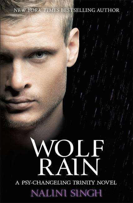 The book cover showing the face of blond man in front of a a rainy night sky.
