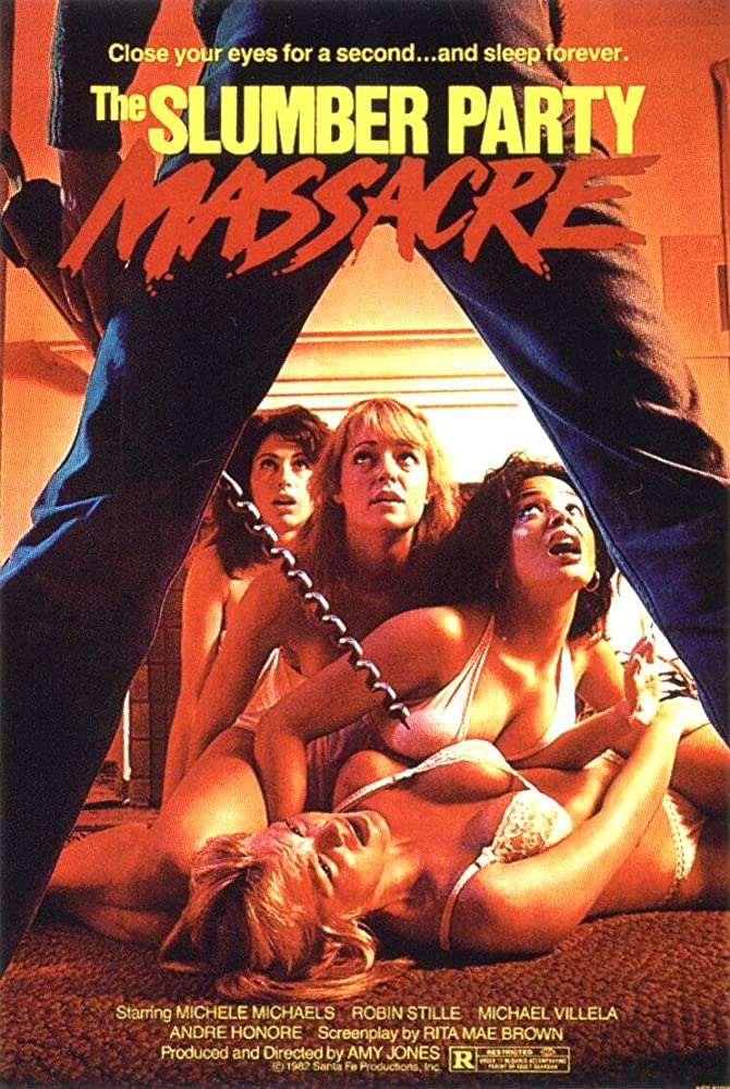 The film poster showing four women in underwear cowering in front of a man with a huge drill.