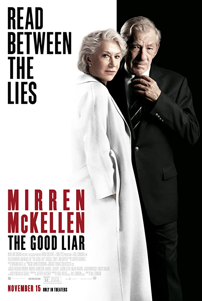 The film poster showing Betty (Helen Mirren) and Roy (Ian McKellen). She is wearing a white coat in front of a white background, he is wearing a black suite in front of a black background.