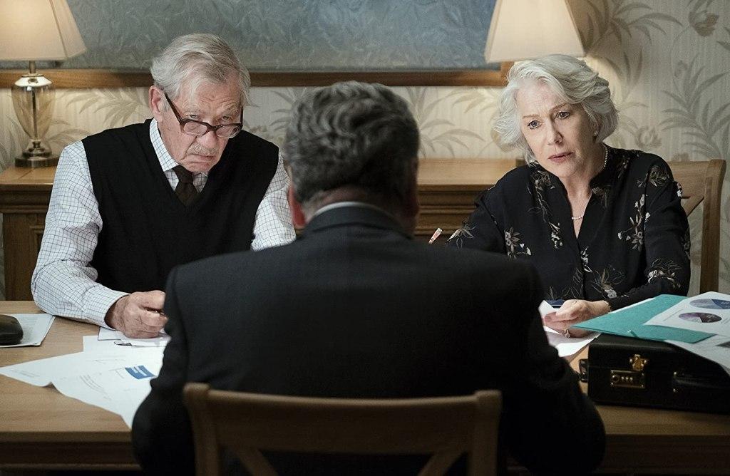 Betty (Helen Mirren) and Roy (Ian McKellen) going over some documents.