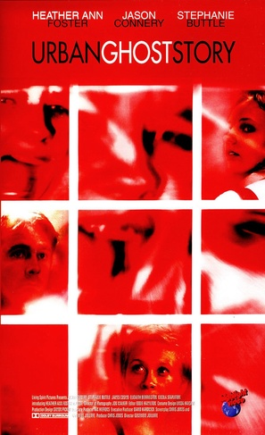 The film poster showing mostly unfocused faces in red.