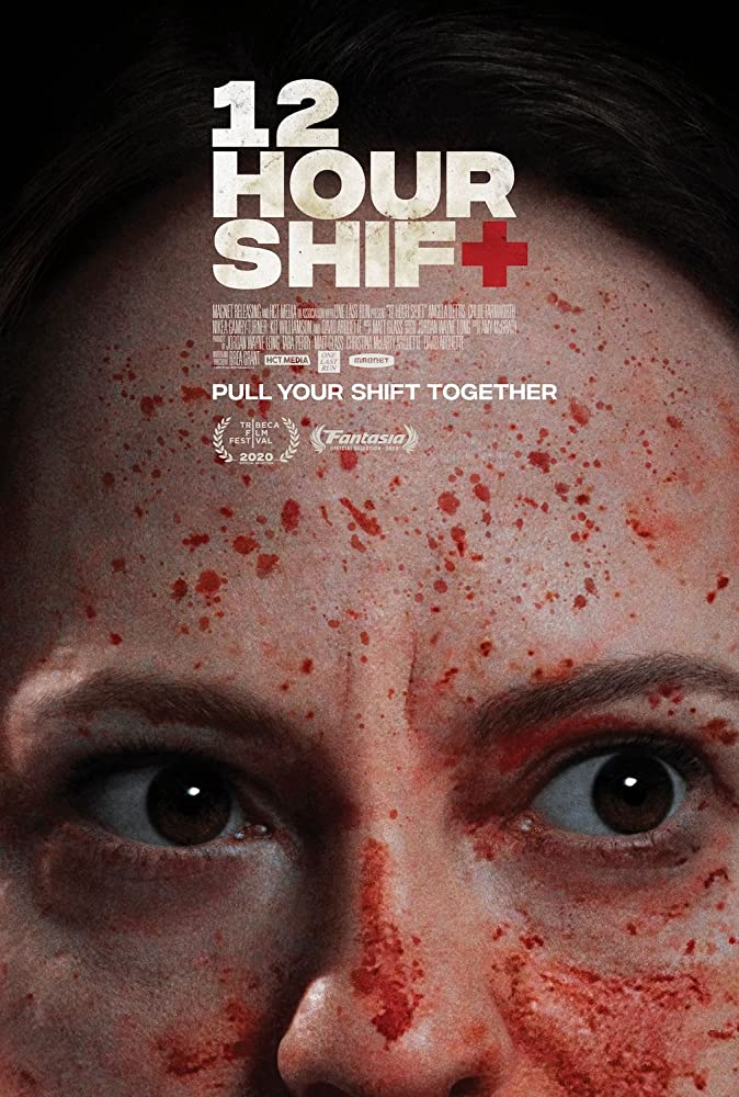 The film poster showing Mandy's (Angela Bettis) eyes, her face covered in blood.