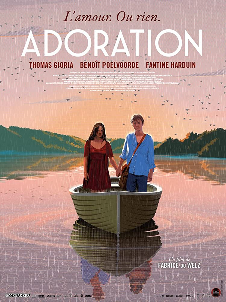 The film poster showing a digital painting of Paul (Thomas Gioria) and Gloria (Fantine Harduin) standing in a boat, holding hands.