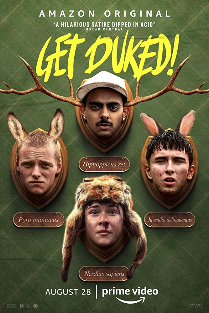 The film poster showing the heads of DJ Beatroot (Viraj Juneja), Dean (Rian Gordon), Ian (Samuel Bottomley) and Duncan (Lewis Gribben) mounted on a wall like hunting trophies.