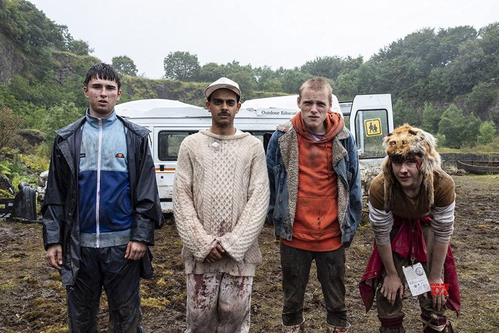 DJ Beatroot (Viraj Juneja), Dean (Rian Gordon), Ian (Samuel Bottomley) and Duncan (Lewis Gribben) stranded in the wilderness.